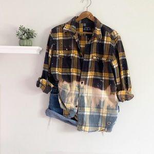 Custom Hand Bleached Plaid Flannel Button Up Shirt
